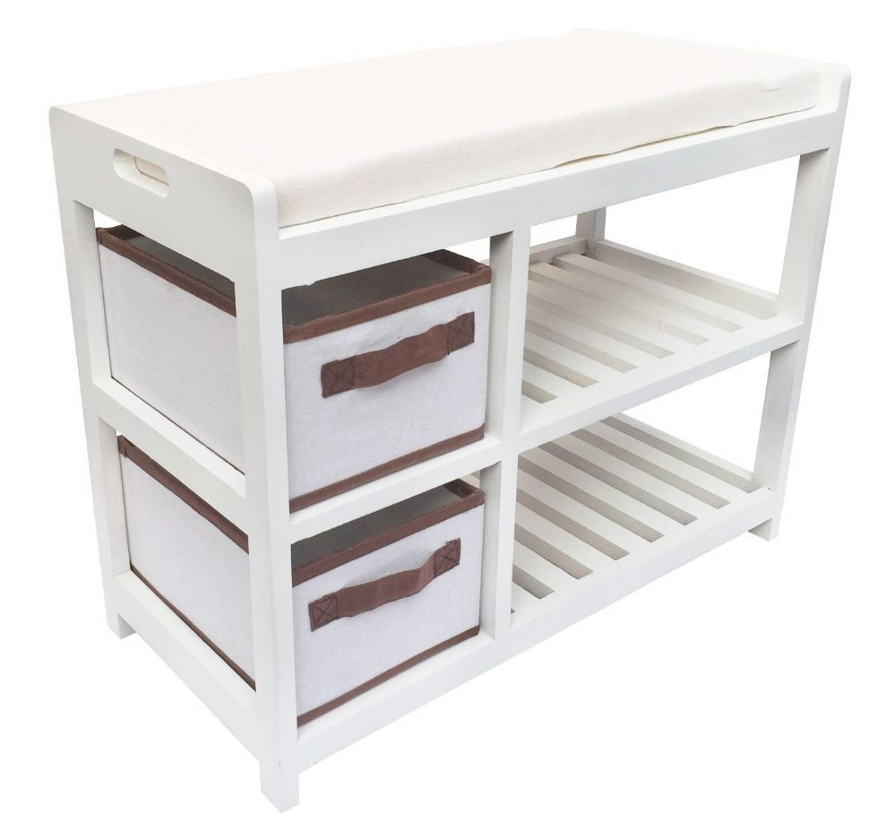 Storage Bench Shoe Rack Entryway Organizer Container Store: Assembled White Bedroom Hallway Padded Seat Stool Bench